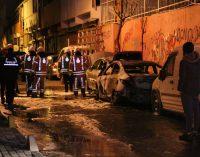 İstanbul'un göbeğinde dokuz otomobilin lastiği kesildi, iki otomobil ateşe verildi