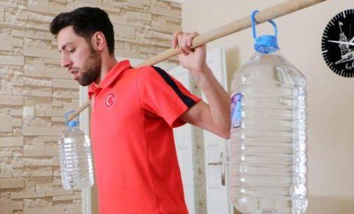 'Evde Kal'an milli kayakçı, sehpa ve su bidonları ile olimpiyata hazırlanıyor