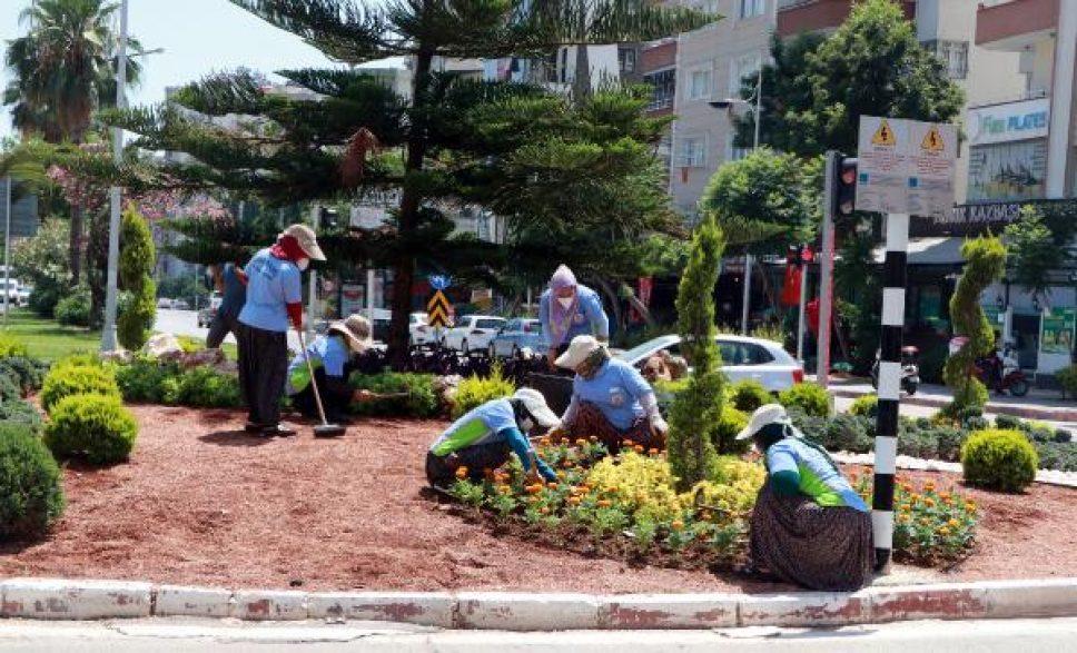 40 derece sıcaklıkta kadın peyzaj işçilerinin zorlu mesaisi