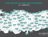 13- 19 Mart için illere göre vaka haritası açıklandı